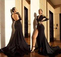 vestido sem costas de gola alta preta venda por atacado-Sexy elevados pretos Dividir sereia Vestidos 2.019 Ouro Appliques frisada mangas compridas V Neck Backless formais Vestidos Árabe Prom Party Vestidos