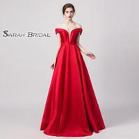 rote schulter kurze kleider großhandel-Desginer Rot A Line V-Ausschnitt Ballkleider von der Schulter aus Plissee vintage Auf Lager