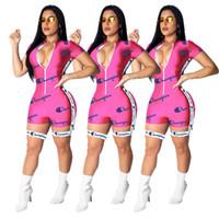 Wholesale xl club jumpsuits resale online – Letter Print Women Champions Jumpsuit Shorts Summer Short Sleeve Zipper T shirt Belt Romper Tracksuit Slim Bodycon Club Bodysuit New A42204