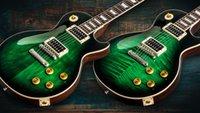 özel elektrik gitarı eğik çizgi toptan satış-2019 Ultimate Custom 1958 Slash imzalı 2017 Sınırlı Üretim Anaconda Alev Üst / Anaconda Düz Top Yeşil Elektro Gitar Koyu Kahverengi Burst