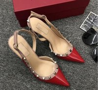 Wholesale women rivet rock shoes for sale - Group buy Designer Pointed Toe with Studs high heels genuine Leather rock rivets Sandals Women Studded Strappy Dress Shoes slingbacks pumps box