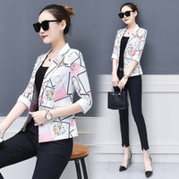 Wholesale air condition jacket for sale - Group buy New jacket female Slim print cropped sleeves spring summer loaded air conditioning shirt small suit workwear jacket T200301