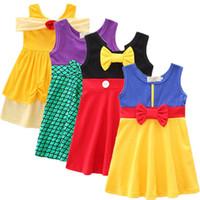 Wholesale baby clothes mermaids resale online - New baby girls Mermaid dress summer cartoon Children Bow princess dresses Kids Clothing M260