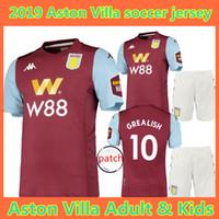 camisas do el venda por atacado-19 20 Aston Villa camisa de futebol 2019 2020 CRIANÇAS WESley GREALISH EL GHAZI HUTTON McGinn Kodja camisas de futebol camisetas