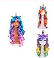 perruque de cheveux longs achat en gros de-Unicorn Birthday Party Decoration longue onduleux licorne perruques Faux perruques cosplay cheveux CORNU décor synthétique
