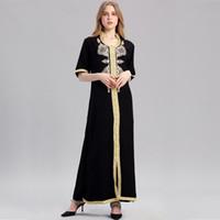 moslemische frauen abaya kleidung großhandel-Frauen Islamische Kleidung Maxi Langarm Langes Kleid Marokkanischen Kaftan Stickerei Kleid Vintage Abaya Muslim Roben Kleid Hijab Stil