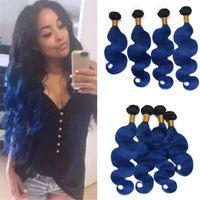 dalgalı saç uzatma atkıları toptan satış-Koyu Mavi Ombre Bakire Malezya Insan Saç Örgü 4 Demetleri Fırsatlar Vücut Dalga Dalgalı Ombre Saç Atkı Uzantıları 400g Ucuz