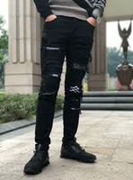 легкие старые джинсы оптовых-Мода мужская внешняя торговля светло-голубой черные джинсы брюки мотоцикл байкер мужчины стиральная сделать старый раза мужчины брюки случайные взлетно-посадочной полосы джинсовые