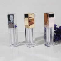 Wholesale rose lip resale online - 5ml Empty Lip Gloss Five Angle Lip Gloss Tube Cosmetic Clear Plastic Tubes Gold Silver Rose Makeup Bottle HHA1355