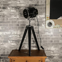 Wholesale industrial table lamps resale online - Solid wood log table lamp three feet LOFT industrial wind personality creative wooden fence bedside lamp decoration living room lighting L89