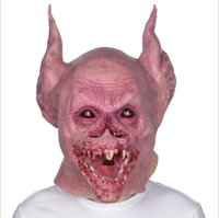 Wholesale toy april resale online - 2019 Funny Scary Horror Vampire Mask Full Head Eco friendly Material Latex Horror Zombie Mask Scary Bat Mask for Halloween Party Trick Toys