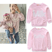Wholesale mother daughter clothes red resale online - 2019 Mother Baby Daughter Family Matching Clothes T shirt Sweatshirt Letters Milk Coffee Pink Tops Long sleeve Raglan sleeve Spring Hotsale