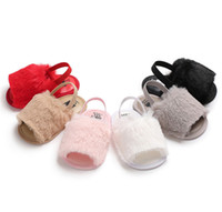 Wholesale children sandals baby slippers shoes resale online - 2019 Ins Summer Baby Girls Fur Sandals Fashion Infant Fur Slippers Warm Soft Kids Home Shoes Children Toddler Baby Shoes Solid Color A32203