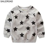 ingrosso ragazzo felpa con cappuccio-SAILEROAD Star Print Ragazzi Felpe per bambini Magliette a maniche lunghe Moda Felpe con cappuccio per bambini Vestiti in cotone Little Baby Top T-shirt