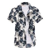 erkekler için yaz plaj gömlekleri toptan satış-Mens Yaz Plaj Hawaii Gömlek 2019 Marka Kısa Kollu Artı Boyutu Çiçek Gömlek Erkekler Rahat Tatil Tatil Giyim Camisas