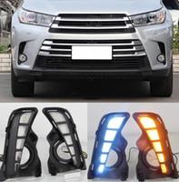 Wholesale toyota highlander accessories resale online - 2PCS Car LED Daytime Running Light Car Accessories Waterproof V DRL Fog Lamp Decoration For Toyota Highlander