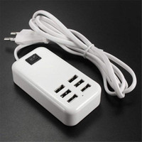 Wholesale usb hub power outlet for sale - Group buy 6 Port USB Hub Desktop Wall W Charger AC Power Adapter EU Plug US Plug Slots Charging Extension Socket Outlet With Switcher