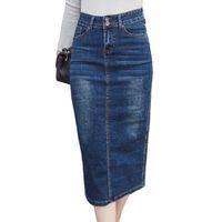 8902c3bc49 2018 Long Denim Skirt Vintage Button High Waist Pencil Black Blue Slim  Women Skirts Plus Size Ladies Office Sexy Jeans Faldas Y19041901