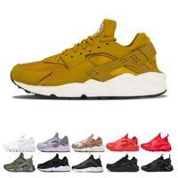 huarache kırmızı beyaz toptan satış-Toptan Huarache 4 1 Koşu Ayakkabıları Erkekler Womens Için Beyaz Siyah Kırmızı Sneakers Üçlü Eğitmenler mens Spor tasarımcısı Ayakkabı sneaker zapatos