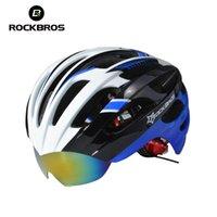 ciclismo de capacete venda por atacado-Bicicleta de Estrada Dos Homens ROCKBROS Casco Bicicleta Capacete Capacete Ciclismo Bicicleta Capacete De Ciclismo Com 3 Lentes Super Luz 256g