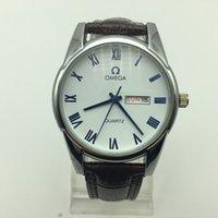 data da concha venda por atacado-Top marca de luxo relógio de moda dos homens de couro relógio de quartzo masculino data numeral romano shell de vidro relogio masculino