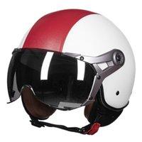eski scooter kask xl toptan satış-Deri Motosiklet Gözlük Bağbozumu Yarım Kaskları Motosiklet Biker Cruiser Scooter Touring Kask
