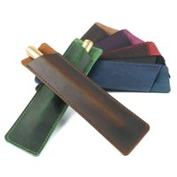 bolsa hecha a mano al por mayor-Hecho a mano de cuero genuino de la pluma de lápiz del bolso de la bolsa de piel de vaca lápiz bolsa retro estilo Accesorios para el cuaderno