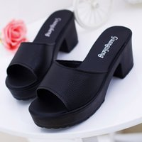 дамские высокие триггерные платформы оптовых-New Women Fashion High Heeled Platform Soft Ladies Wedges Flip Flop Sandals Plus Size Classics Peep Toe Party Shoes 10