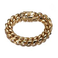 qualität gold ton schmuck großhandel-16mm Miami Curb Cuban Chain Herren Schmuck Armband Schmuck Trendy Hochwertiger Edelstahl Gold Tone 7-11inch