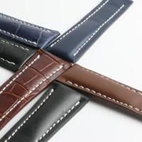 ingrosso cinturino in nastro nero-1Punto di distribuzione fibbia pelle di vitello pelle cinturino orologio cinturino in vera pelle per Breitling orologio uomo 20mm 24mm nero blu con attrezzo
