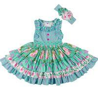 eski çocuklar toptan satış-Çocuklar giysi tasarımcısı kızlar Kolsuz Çizgili Çiçek Baskılı Fırfır Pamuk Elbiseler ile Kafa Eski Plaj Çocuk Giyim BY0906
