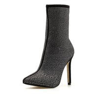 Wholesale decorative boots for sale - Group buy spring autumn women s boots fashion pointed toe shiny rhinestone decorative stiletto shoes sexy women booties