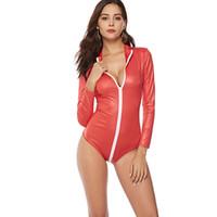 traje de dança de macacão venda por atacado-Brilho vermelho Patente Macacão De Couro Sexy Pole Dance Costume Boate Dança Selvagem Uniforme PVC Erotic Underwear