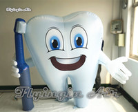 Wholesale dental teeth models resale online - Customized Advertising White Inflatable Tooth Model m m Height Blow Up Dental Man Balloon With A Toothbrush For Event