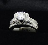 eiffel schmuck großhandel-Modeschmuck Eiffelturm Stil Weiß Topas Edelsteine 925 Sterling Silber CZ Diamant Verlobung Hochzeit Ring Größe 5-10 für Liebhaber Geschenk
