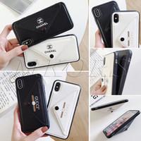 iphone couro branco venda por atacado-2019 envelope slot para cartão de telefone na moda para iphone x xs max xr 7 7 plus 8 8 plus 6 6 s além de casos em tpu pu capa de couro preto branco cor