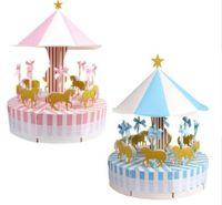 уникальные праздничные украшения оптовых-OurWarm Unique Carousel Candy Box for Unicorn Party Gift Birthday Party Decorations Wedding Favors and Gifts Souvenir for Guests