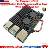 lüfter für laptop-prozessor groihandel-Für Raspberry Pi 4B Neueste CNC-Aluminiumlegierung-Kasten-Gehäuse mit Kühlventilator US
