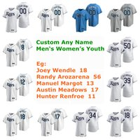 Wholesale randy white jerseys for sale - Group buy Joey Wendle Jersey Randy Arozarena Manuel Margot Austin Meadows Hunter Renfroe Yoshitomo Tsutsugo Baseball Jerseys Custom Stitched