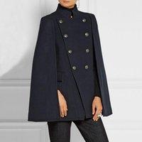 ingrosso lana a ponte-2018 autunno inverno moda stile fresco Poncho in lana double petto del Capo mescola il cappotto di lana donne Mantello