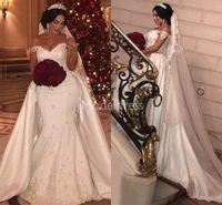 Wholesale plus size mermaid wedding dresses for sale - Arabric Lace Mermaid Wedding Dresses With Detachable Train Off Shoulder Castle Chapel Bridal Gowns Charming Plus Size Vestidoe De Noiva