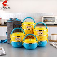 Wholesale dinnerware set cartoon for sale - Group buy CHANOVEL Cute Cartoon Lunch box For Kids With Plastic Tiffin Boxes Thermal stainless steel Dinnerware Sets D19010902