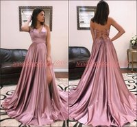 Wholesale spaghetti strapped black long dress for sale - Modern Spaghetti High Split Prom Dresses Satin Cross Straps Cheap Vestido de fiesta Formal Juniors Evening Wear Cheap Long Party Gowns