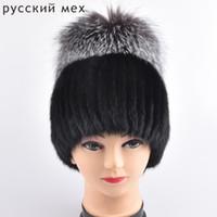 ingrosso cappelli neri di mink per le donne-Cappello di pelliccia di volpe 100% naturale genuino visone Cappellino di pelliccia lavorato a maglia nero Beanie per cappelli invernali moda per l'osso caldo