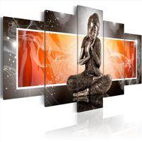 paneles de arte de pared de buda al por mayor-5 paneles de lona caliente de impresión Adornos Buda paisaje cartel casero moderno de la decoración de la pared pintura de la lona impresión de la técnica de impresión de alta definición Pintura