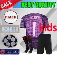 niños púrpura camisetas de fútbol al por mayor-19 20 manchester niños púrpura Portero Fútbol unidos UTD 2019 2020 Tipo de letra kit de fútbol infantil de Gea Rosa marciales