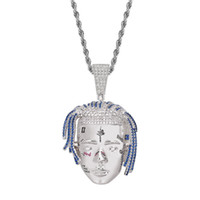 Wholesale chain united jewelry for sale - Group buy United State hip hop Singer XXXTentacion head portrait necklace with Zircon Twist chain personality fashion Pendant copper jewelry