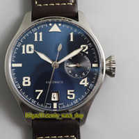 Wholesale leather watch straps pilot resale online - Top version ZFF Big Pilot Day Power Reserve Blue Dial Cal Automatic Mens Watch Steel Case Leather Strap Sport Watches