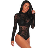 Wholesale Bodysuit Long Sleeve Women Winter Black Sheer Mesh Geometric Velvet Body Suit Combinaison Femme Jumpsuit Romper