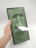 ingrosso pietre decorative-Pasqua Moai Tissue Box Pietra Uomo Scatola di carta Stoccaggio di tessuti Decorazione domestica creativa Ufficio Desktop Decor Contenitore di tessuto MMA1261
